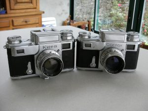 A Kiev III made in 1949 next to an original Contax III.