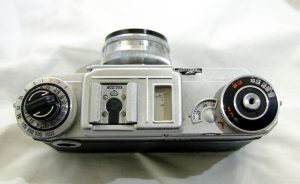A Kiev 4M made in 1980. Notice the completely different film speed knob and the fold out rewind crank.