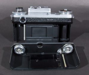 A Kiev with the back removed. Note the unique vertical metal shutter. This picture is of a Kiev with a fixed takeup spool, most of them had removable spools.
