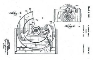 A drawing from the original patent application for the rotary shutter.