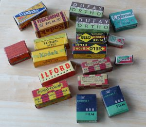 This is a sample of old expired film types from the collection of David Hughes.