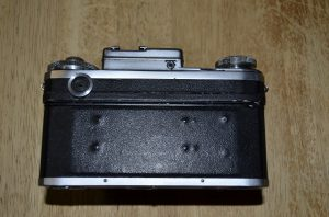This is the back of a Russian Kiev 4 camera showing an example of 'Zeiss Bumps'.