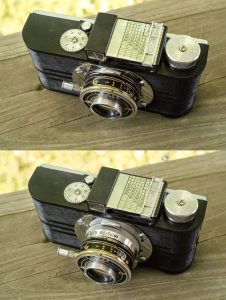 The top is the A2F with the lens collapsed, and the bottom is with it open. Notice you can only access the focus wheel when the lens is open. This helps eliminate the chance that you would fire the shutter with the lens still collapsed.