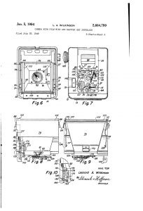 A diagram from US Patent # 2,664,799 from July, 1949 depicting a camera design which would become the Argus 40 and 75.