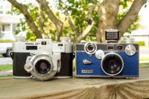 The Kodak 35 RF next to its number 1 competitor, the Argus C3.