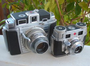 The medium format Kodak Chevron and 35mm Signet 35 shared many design elements.