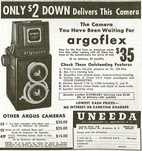 Ad an from 1940 shows the Argoflex E at the low price of $35.