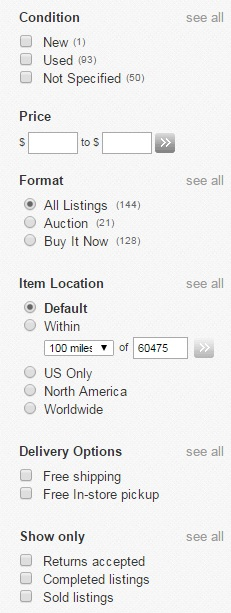 "Select the ""Sold listings"" box to only search auctions that someone actually bought."