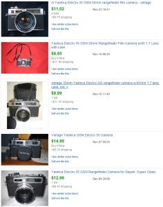 When searching for only Sold listings, you get a much more accurate value of what the camera's value is.