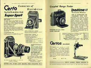 This ad from 1937 shows an illustration of a Super Sport Dolly with the extension tube and interchangeable lens attached.