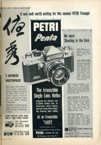 A magazine ad from February, 1960 advertises the new Petri Penta for only $149.50.