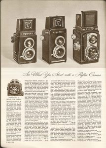 This ad from a Montgomery Wards ad explains the benefits of buying a TLR and compares two different Argus models with the Ciro-Flex.
