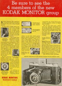 An advertisement from a 1940 issue of Popular Photography showing the entire Monitor lineup.
