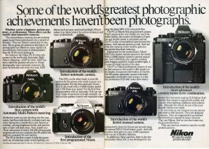 A lineup of Nikon's SLRs from the early 80s. The FA's Automatic Multi-Pattern metering is what we call Matrix metering today.