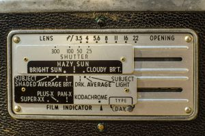 The back of the camera features this interesting exposure calculator. It's not very helpful, but perhaps it made more sense in the 1950s.