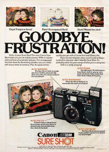 An ad from 1980 for the AF35M hyped the frustration free simplicity of the camera.