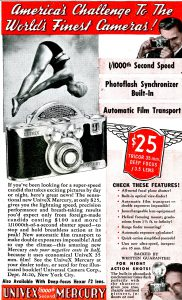 An advertisement from 1939 showing the $25 price for the Univex Mercury.