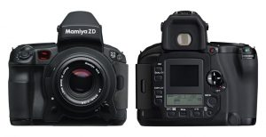 The Mamiya ZD from 2004 was the worlds first medium format DSLR. It had a 22 Megapixel sensor that measured 36 x 48mm.