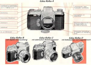 A German language advertisement showing the 4 models of Edixa Reflex that were available at the time.
