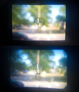 This image compares the split image rangefinder between a Wirgin Edixa (top) and the KMZ Start (bottom).