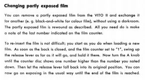 Page 11 of the Vito's manual desribe a unique use for the film lever for loading in a partially used roll of film.