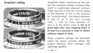 Page 14 of the Vito IIs manual explains how to use icons on the focus scale for candid snapshots.