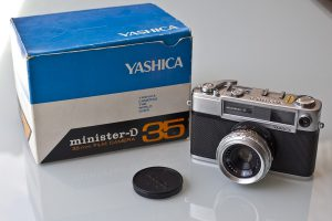 A Yashica Minister-D in it's original box. Imaged used with permission by Mark Verlijsdonk.