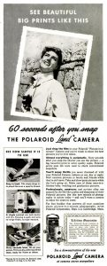 An advertisement for the first Polaroid camera from July, 1949.