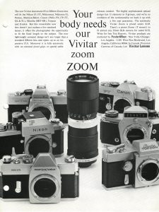 An ad for Vivitar lenses from 1969 showcases how many different camera brands Vivitar made lenses for.